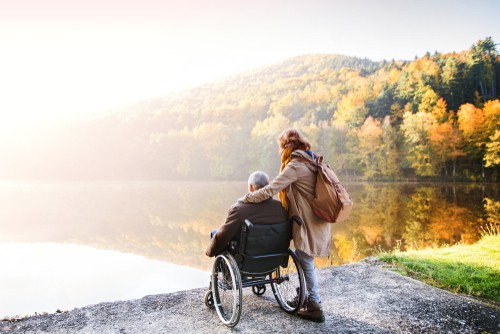 Spending time with family in wheelchair